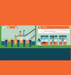 Subway train station platform with people buying vector