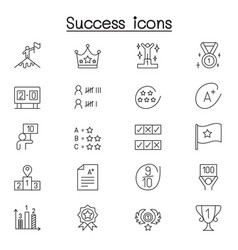 success icons set in thin line style vector image