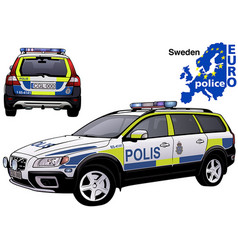 sweden police car vector image vector image