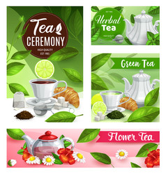 tea posters with cup teapot and flowers vector image
