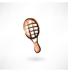 tennis racket grunge icon vector image