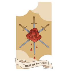 Three swords rose pierced three swords on vector
