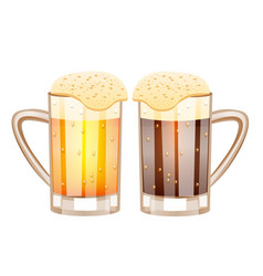 Two glasses with beer vector