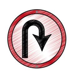 u turn arrow traffic signal icon vector image