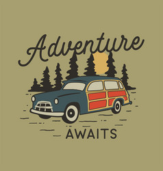 vintage hand drawn travel badge with camp car vector image