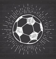 Vintage label hand drawn football soccer ball vector