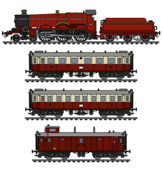Vintage red passenger steam train vector