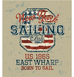 Vintage sailing club vector