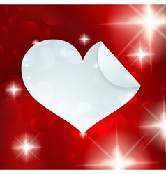 White paper heart icon on red vector image