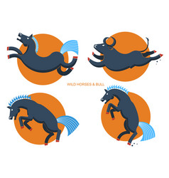 Wild horses and bullrodeo symbols vector