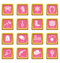 wild west icons set pink square vector image