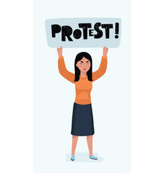 woman hand holding blank picket placard vector image