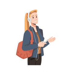 woman in headphones listening music on smartphone vector image