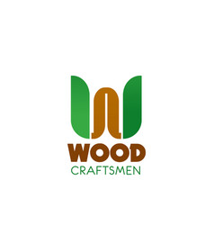 wood craftsman badge vector image