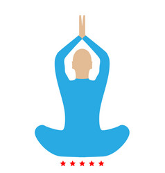 yoga pose of woman icon flat style vector image