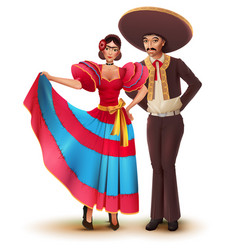 Young woman and man in mexican national vector