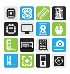 Black Computer performance and equipment icons vector image