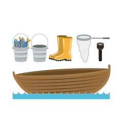 colorful silhouette boat in water waves and set vector image vector image