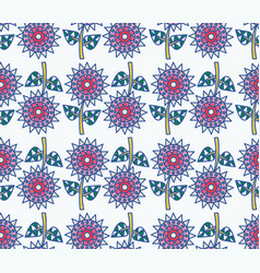 decorative sunflowers seamless pattern vector image vector image