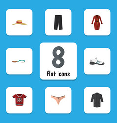 Flat icon garment set of clothes pants lingerie vector