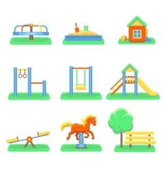 Kids playground set Icons with kids swings and vector image