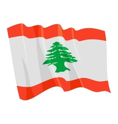 political waving flag of lebanon vector image vector image