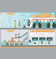 subway train station platform with people vector image