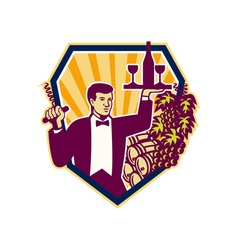 Waiter Serve Wine Glass Bottle Shield Retro vector image vector image