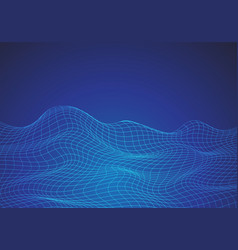abstract blue line mesh wave digital graphic vector image