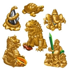 Lion snake Poseidon and other symbols of worship vector image