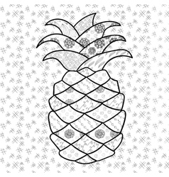 Pineapple adult coloring page vector image