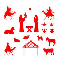 scene of baby jesus in the manger vector image