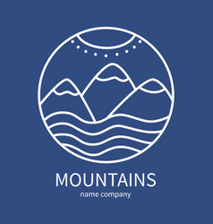 linear icon of landscape with mountains and sun in vector image