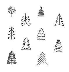 Set of hand drawn Christmas tree vector image vector image