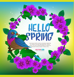 spring season round frame witn exotic bird sitting vector image vector image
