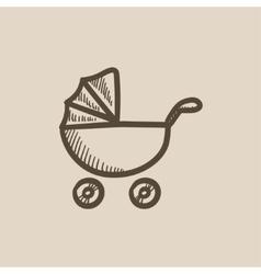 Baby stroller sketch icon vector image