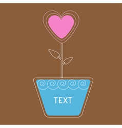 heart flower in pot Card vector image