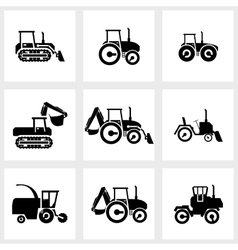 icon set tractors and kombain vector image vector image