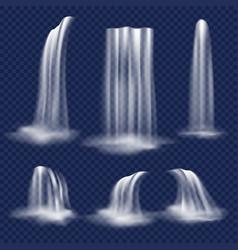 realistic waterfall set vector image vector image