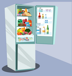 refrigerator full of tasty food vector image vector image