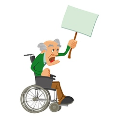 senior man in a wheelchair vector image vector image