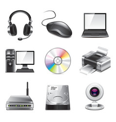set computer icons vector image