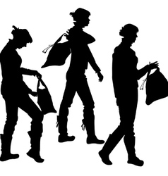 silhouette of the girl with a bag vector image vector image