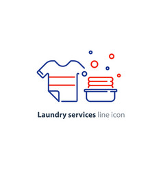 washing clothes laundry mono line icon t-shirt and vector image