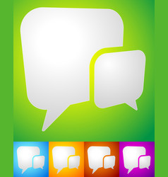 2 overlapping squarish speech talk bubbles for vector image