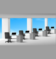 3d view of white office interior with computers vector image