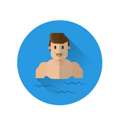 a man is resting swimming in the sea vector image