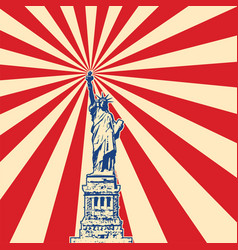 american symbol of new york statue of liberty vector image