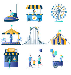 amusement park attractions flat icon set vector image