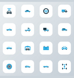 Auto colorful icons set with garage truck vector
